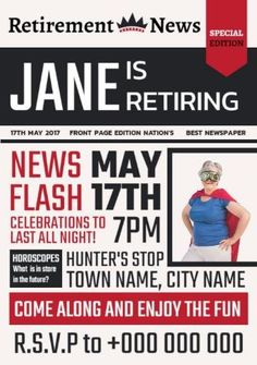 Edit this really cool template for a retirement party invitation. This can be easily edited in Design Wizard. A newspaper like background with lots of space to display details on the retirement party. Retirement Party Invitations, Retirement Parties, Town Names, Invitation Templates, Newspaper, Display, Space, Fun, Design