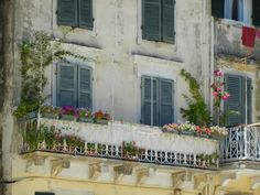 Corfu, Greece Loved the window boxes!