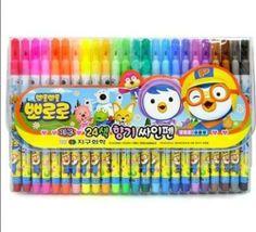 Pororo 24 Colors Felt Tip Pens Set Magic Marker aqueous pen Nontoxic Kids Crafts