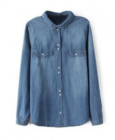 Stonewashed Long Sleeves Denim Blouse With Lapel Collar