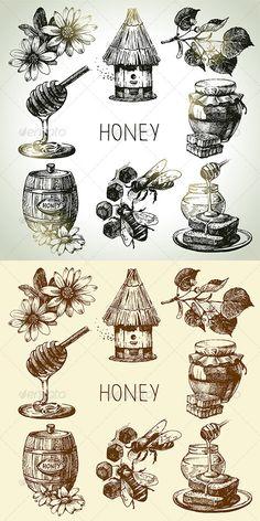 Honey Hand Drawn Set