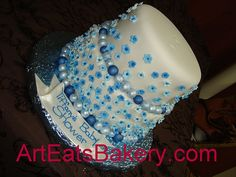 http://cakedecoratingcoursesonline.com/cake-decorating/ Blue sugar flowers and pearls fondant baby shower cake. #Create Your Own #Baby #Shower #Cake - Join Unique #Online Cake #Decorating #Courses on http://cakedecoratingcoursesonline.com now!