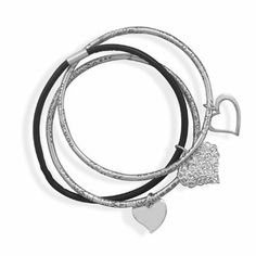 Sterling Silver Oxidized and Leather Bangle Bracelet Set West Coast Jewelry. $228.95. Save 50%!