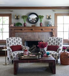 Fall-inspired decor encompasses both color and texture. The deep burgundy red accents, including plush velvet pillows, a Coastal Living Rooms, Living Room Interior, Living Room Decor, Living Spaces, Living Room Accessories, Home Accessories, Burgundy Living Room, Ceiling Trim, Beach House Decor