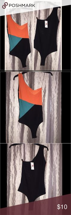 Colorblock One Shoulder Bodysuit Cute one shoulder (right shoulder) bodysuit / colorblock orange turquoise and black / two snaps between legs / back of bodysuit is black / 93% polyester / 7% spandex Joyce Leslie Other