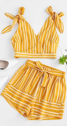 Occasion: Beach and Summer,Daily  Style: Casual  Fit Type: Loose  Collar-line: Plunging Collar  Sleeves Length: Sleeveless  Material: Polyester  Waist Type: High  Closure Type: Elastic Waist  Front Style: Flat  Pattern Type: Striped  Season: Summer