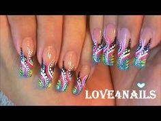 Black & Gold White Hearts Nail Art Design Tutorial - YouTube