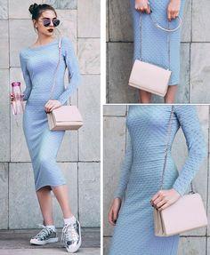 blue self design long sleeves calf length bodycon dress #dress   #calflength     #longsleeves    #roundneck    #bodycon