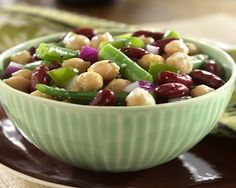 3-Bean Salad-This is an easy, quick, low calorie, low fat, no-cholesterol, low sugar, Weight watchers 3 PointsPlus+ recipe. Only 20 Minutes to make it. Makes 12 Servings.