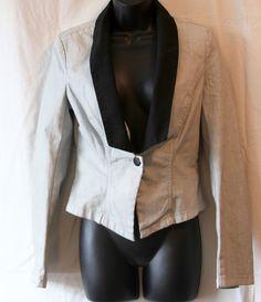 Rock and Republic Blazer V Neck Lapel 1 Button Stretch Women Black Gray Size 6  #RockRepublic #Blazer
