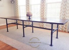 Learn how to build an easy pipe leg table for under 300 dollars. Includes easy to follow plans. Includes easy to follow plans and step by step instructions.