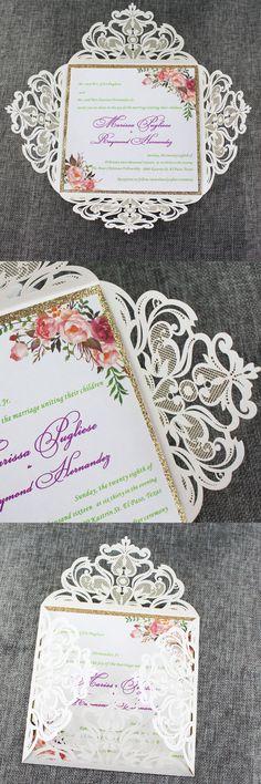 Bohemian Watercolor floral Wedding Invitations