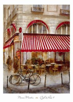 Tangletown Fine Art Cafe De Paris Ii by Noemi Martin Fine Art Giclee Print on Gallery Wrap Canvas, 18 x 24 Paris Canvas, Cafe Bistro, Bistro Kitchen, Kitchen Decor, Vintage Poster, Paris Cafe, Wooden Bar, Stretched Canvas Prints, Land Scape