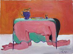 La mesa esta servida 4 , acrylic on canvas, 19 x 27 cm. 2004