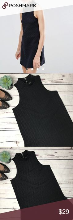 """{Abercrombie & Fitch} sz M black drop waist dress NWOT and fabulous! What a cute LBD for Valentine's Day! A quilted like fabric sure to wow anyone walking by!   Measurements approximate:  Bust: 17""""  Shoulder to hem: 33""""   Fabric content:  75% polyester 24% cotton 1% elastane   Offers always welcome! Abercrombie & Fitch Dresses Mini"""