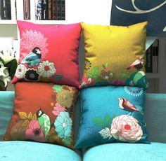 Throw Pillow Case Cotton linen Sofa Cushion Cover Home Decor Flower & Bird 45cm   Home & Garden, Home Décor, Pillows   eBay!