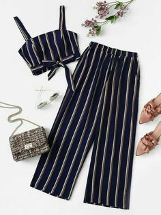 Outfits - Plus Knot Front Striped Top & Pant SheIn(Sheinside) Cute Girl Outfits, Kids Outfits Girls, Cute Casual Outfits, Teenager Outfits, Cute Summer Outfits, Pretty Outfits, Stylish Outfits, Stylish Clothes, Girls Fashion Clothes