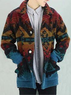 NOVAWOO ~ Products ~ Retro Street Style Print Single Row Button Collar Sweater ~ Shopify Best Mens Fashion, Unique Fashion, Men's Fashion, Fashion Trends, Aztec Jacket, Long Overcoat, Print Jacket, Western Wear, Outerwear Jackets