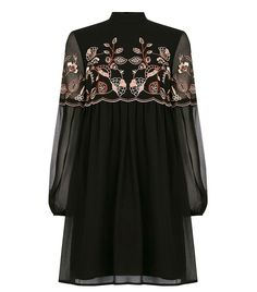 This embroidered babydoll dress is constructed from a soft woven fabric and features a high neck, floral embroidered detailing and keyhole and clasp detailing on the back. Height of model shown: 10 Model wears: UK size Black Tunic, High Neckline Dress, High Neck Dress, Look Dark, Spring Dresses, Teen Dresses, Club Dresses, Smocked Dresses, Dream Closets