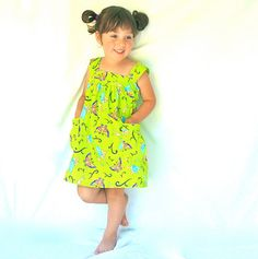 Little Girl's Gathered Tinkerbell Sundress Jumper with Pockets  by Gooba Gear