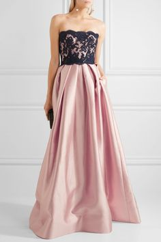 Reem Acra | Strapless silk-blend and lace gown | NET-A-PORTER.COM