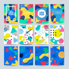 Collection of colorful covers with abstract shapes in memphis style E Design, Book Design, Cover Design, Layout Design, Name Card Design, Banner Design, Graphic Design Print, Graphic Design Inspiration, Packaging Design