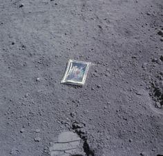 A picture of a photograph: the family photo that Charlie Duke left on the Moon on April 23, 1972. (NASA)