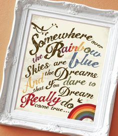 Over the Rainbow - Print for a Kid's Room. $15.00, via Etsy.