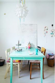 Love the mix of chairs with the turquoise painted kitchen table.
