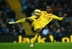 Raheem Sterling of Liverpool on the ball during the Barclays Premier League match between Aston Villa and Liverpool at Villa Park on January 2015 in Birmingham, England Liverpool Fc, Raheem Sterling, Villa Park, You'll Never Walk Alone, Barclay Premier League, Premier League Matches, Aston Villa, Sports Betting, Soccer