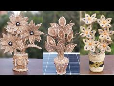 DIY Flower & Flower Vase Decoration Idea with Jute Burlap | Home Decor Jute Flower With Pot Making - YouTube