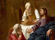 Gesù in casa di Marta e Maria di Jan Vermeer. Maria Maddalena viene identificata con la donna cui Gesù scacciò sette demoni, e un riferimento lascia credere che quest'ultima fosse la stessa che Gesù incontra in casa di Lazzaro a Betania.