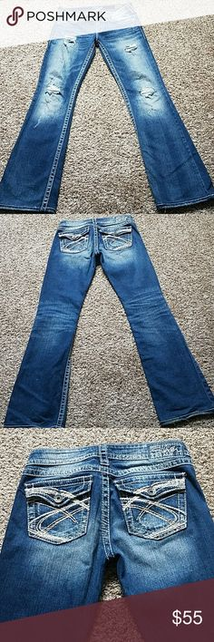 Silver Jeans Pioneer bootcut Distressed jeans. Excellent condition! Size 27. Inseam 32. Smoke free home! Silver Jeans Jeans Boot Cut