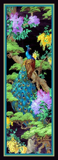 Peacock in Tree Large Refrigerator Magnet via LabelStone of Etsy. Peacock Decor, Peacock Colors, Peacock Art, Peacock Feathers, Peacock Images, Cedar Trees, Silk Painting, Designer Wallpaper, Beautiful Birds