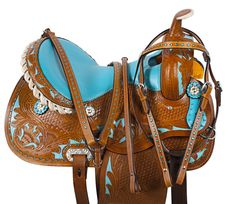 Blue Inlay Crystal Barrel Racing Western Horse Saddle 14 15