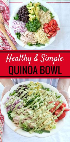 This Quinoa Bowl with Avocado Dump Ranch is so simple to make and is a real crowd pleaser. With just a few quality ingredients you'll have an amazing meal in no time at all. | quinoa bowl recipes | healthy quinoa bowls | healthy dinner recipes | healthy r