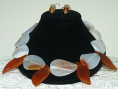 Four flame shaped Carnelian stones and Agate Necklace and matching earrings by almikor on Etsy