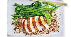 323 cal - This healthy chicken and rice dinner is full of Japanese flavours and is perfect for busy weeknights. Vegetarian Nachos, Vegetarian Dinners, Vegetarian Recipes, Healthy Chicken Recipes, Rice Recipes, Healthy Food, Dinner Recipes, Healthy Eating, Green Rice Recipe