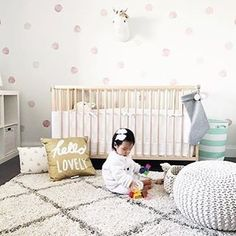 Watercolor accents in the nursery has us all heart eyed. Achieve this look easily with these sweet watercolor dot decals, available in The Project Nursery Shop. Image by @simplystph