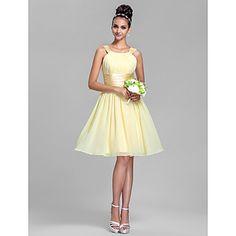 Bridesmaid Dress Knee Length Chiffon And Stretch Satin Sheath Column Straps Dress – GBP £ 55.19