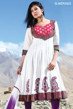 $96 Off White Cotton Anarkali Churidar Set From Cbazaar