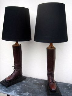 Leather riding boot lamps by Antique by Design