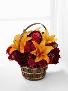 Harvest Blooms Basket Deluxe (XX-4351D) | The Frugal Flower #liles #roses #sprayroses
