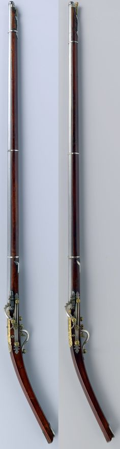 Vietmanese matchlocks, octagonal barrels and strong downward curved slender stocks, characteristic of rifles manufactured in Tonkin (North Vietnam).), 1650 - 1679, copper, silver, walnut (hardwood), lacquer (coating) iron, bone, mother of pearl, 169 cm × l 98 cm. Rijksmuseum.
