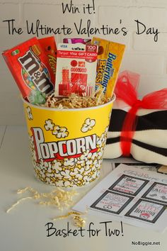Cute Valentine's Day gift basket- everything you need to send him on a Car Treasure Hunt and then enjoy a private drive-in for two!  Lovin' it!