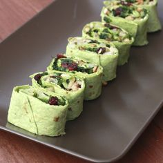 Spinach, Pear, Pecan, and Cranberry Pinwheels