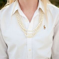 Pearls and white shirt