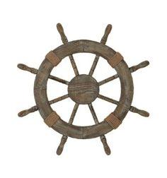 "Amazon.com: Nautical Decor 24"" Wood Pirate's Ship Wheel Marine Decor: Home & Kitchen"