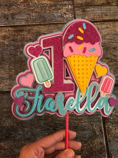 Personalized Cake Toppers, Custom Cake Toppers, Custom Cakes, Ice Cream Theme, Ice Cream Party, Ice Cream Scoop, Diy Cake Topper, Birthday Cake Toppers, Pug Cake