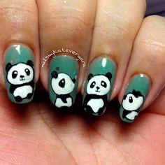 Image via Panda nail art designs Panda Bear Nails, Panda Nail Art, Nail Art Diy, Easy Nail Art, Cool Nail Art, Pretty Nail Colors, Pretty Nails, Nail Art For Kids, Girls Nails